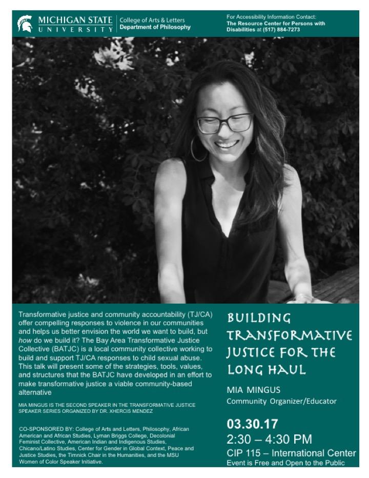 TJ Speaker Series: Mia Mingus Event Flyer